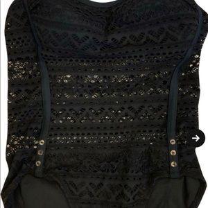 Crochet style one-piece bathing suit,built in bra